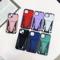 Anti Fall V Armor Bracket Stand Phone Cases Shockproof Case for Apple iPhone 13 Mini 12 11 Pro Max X XS XR 7 8 Plus Back Cover