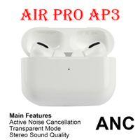 En Kaliteli Hava Gen 3 AP3 ANC Kulaklık TWS H1 Çip Metal Menteşe Şeffaf Modu Kablosuz Şarj Bluetooth Kulaklık GPS Yeniden Adlandır