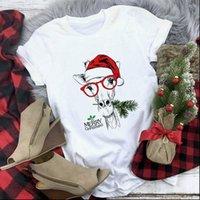Fashion Kawaii Cute Giraffe Women T Shirts Animals Printed Short Sleeve Merry Christmas shirt Female Clothes