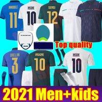 Itália 2021 Jersey Soccer Home Away 21 22 Jorginho El Shaarawy Bonucci Insigne Bernardeschi Italia Jovem Adulto Men + Kit Kit Jovem Boys Football Camisas