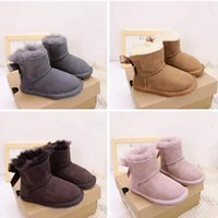Designer Kids Bows Boots Genuine Leather Toddlers Snow Boot Solid Botas Winter Girl Footwear Toddler Girls Boots HH21-736