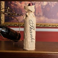 New MR & MRS Jute Wine Bottle Cover Gift Bag Rustic Wedding Decoration Anniversary Party Decoration Gift Wrap T2I52042