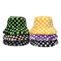 Faux Fur Winter Caps Black Green Plaid Check Bucket Hats For Women Mens