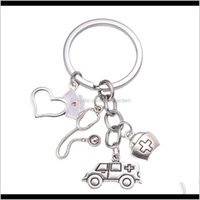 Key Rings Jewelry Drop Delivery 2021 Fashion Doctor Aid Kit Mini Syringe Thermometer Ambulance Dentist Angel Stethoscope Keychain Nurse Cap M