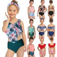 Women's Swimwear 2021 Toddler Girls Kids Baby Pink Ruffled High Waist Bikini Sets Swimsuit Children Swimsuits Swim Bathing Suits 2-14 Years