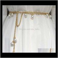 الأزياء والأزياء الفاخرة الماس اللؤلؤ قلادة رابط سلسلة حزام معدني للمرأة أنثى بنات الطلاب 110 سنتيمتر أحزمة Qaxhk mu5lz
