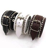 Tennis Vintage Punk Rivet Leather Bracelet Silver Metal 3 Color Bangle For Men WristBand Design Fashion Pulsera Hand Jewelry Gifts