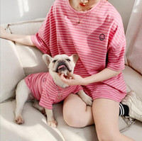 Adult and Dog Pet Matching CLothes 2019 Family Clothes For Dog Small Large Dog Clothes Striped T Shirt Adult Tops Shirt Pet Pajamas Clothing