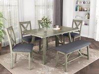 단단한 나무 식탁 의자 6 피스 다이닝 룸 주방 식탁 벤치와 4 개의 의자 국가 스타일 회색
