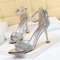 BigTree Rhinestone High Hostp Woman Bombas Sliver Oro Zapatos de boda Stiletto Sexy Tacones Abiertos Toe Mujer Sandalias