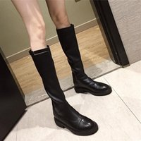 Boots Women's Autumn 2021 Style But Knee Knight High Zipper Thick Heel Single Long Tube