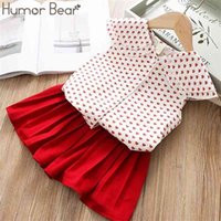 Humor Bear Girl Clothes Suit Summer Brand New Fashion Little Love Large Lapel T-Shirt+Pleated Skirt 2PCS Set Baby Girls Clothing 210430