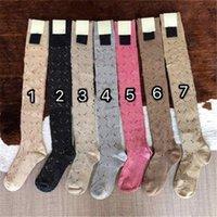 Многоцветные женские хлопчатобумажные носки роскошные буквы печати женщин давно чулок мода девушки над коленом носок высокого качества