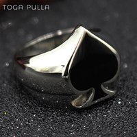 High Quality Black Spade Lucky Ring Cool Men Women Stainless Steel Punk Biker Unisex Fashion Jewlery Size 7 To 14 Cluster Rings