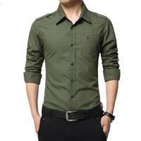 Calidad Epaulet Air Ejército Verde Vestido Verde Camisa Airforce Uniforme Militar Militar Manga Larga Slim Fit Camisa Masculina Camisas de algodón Casua Hombre
