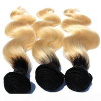 T1B 613 Ombre Rubio Paquete de pelo 8 pulgadas-30 pulgadas de raíces oscuras con # 613 Wave Wave Haavy Weave Brasil Remy Human Hair