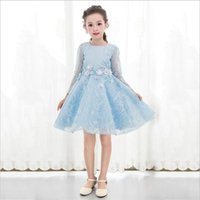 Girl's Dresses High Quality Lace Flower Girl Dress Children Kids Beautiful Wedding Party Toddler Long Sleeve Clothing Autumn