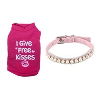 Dog Collars & Leashes Small Pet T Shirt Clothes Cat Puppy Summer - Rose Red XS Store Rhinestone Pearl Chain Collar
