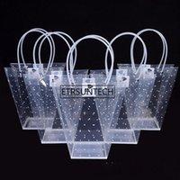 Gift Wrap T Shaped Plastic Bags With Handles Flower Contatiner Bag Dot Print Florist Material Handbag Supplies 100pcs