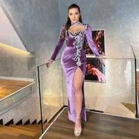2021 Long Sleeves Velvet Mermaid Evening Dress High Neck Lace Appliques Slit Side Women Formal Prom Gowns Vestidos De Gala