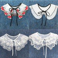 Women Detachable Lace Fake Collar Blouse Cloud Shoulder Doll Embroidered Bow False Clothes Shirt Accessories