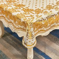 Table Cloth European-Style Tablecloth Rectangular Household Bronze PVC Waterproof Oil-Proof Lace Plastic Tea