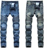 Мужские плюс размер брюки джинсы мужчина джинсовый дизайнер мото велосипед прямой мотоцикл для осенних весенних панк-рок уличная одежда езда колена Щиток случайные мода 6507