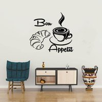 Wall Stickers Modern Coffee Croissant French Bon Appetit Kitchen Whiteboard Home Decoration Art Murals DW7110