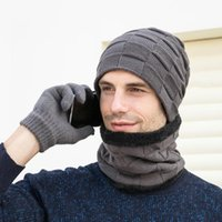 Winter Hat Scarf Gloves 4pcs Set Plus Velvet Knitted Men's Outdoor Riding Hiking Camping Warmth Cap Bike Pink Ski Mask Cycling Caps & Masks