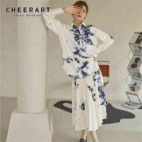 Cheerart Kravat Boya Uzun Pileli Etek Bayan Yüksek Bel Mürekkep Yıkama Boyama Çiçek Beyaz Flowy Bayan Midi Etek Giysileri 210412