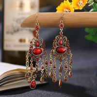 Dingoli lampadario antico Donne antiche Bollywood Lega Hollow Jhumka Orecchini gioielli Gypsy gioielli Boho Etnico Etnico Gemma rossa in pietra nappa tassello Earin