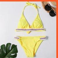 2020 neue massive bikini sexy dreiecktasche gestreifte richtung split badeanzug für frauen