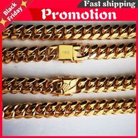 Chains 14mm Stainless Steel Miami Curb Cuban Chain Necklace Boys Men Gold Color Hop Dragon Lock Clasp Link Jewelry 18 K Bracelet