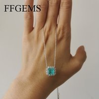 Ffgems Бразильский Параиба Изумрудный турмалиновый ожерелье создан квадрат драгоценного камня для женщин изысканные ювелирные изделия кулонкой вечеринка свадебный подарок 210323