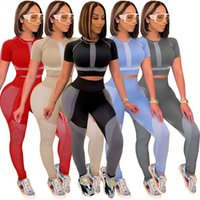 Woman Fitness Two Piece Sporty Tracksuits Active Wear Short Sleeve Bandage T-shirt and Stretchy Skinny Legging Hipster Club Outfit