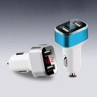 عالمية مزدوجة USB شواحن سيارة أجهزة إرسال أجهزة إرسال 3.1a الرقمية الصمام الجهد / عرض الحالي السيارات شاحن السيارات المعدنية للسيارات لسمح