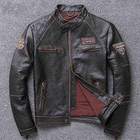 Zvaqs 100% Real Sheepskin Coat Men Uomo Autunno Vestiti invernali Giacca in pelle da uomo 2020 Streetwear Moto Bliker Genuine Leather 680