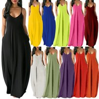 Summer dresses fashion women round neck solid color sleeveless vest Pocket long skirt Floor-length skirts 11 colors S M L XL XXL T653