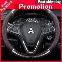 Steering Wheel Covers Car Carbon Fiber Leather Interior Accessories 38cm For Mitsubishi Xpander Attrage Outlander Styling