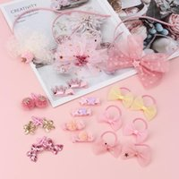 Hair Accessories 7Pcs lot Lovely Bands Clips Set Korean Pink Bling Sequins Hairclips Pins Hoops For Baby Girls Cute Gift