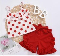Summer Baby Kids Girls Toddler Tank Top Vest Shorts 2Pcs Sets Outfits Clothes Dots Bow Print Fashion Sunsuits