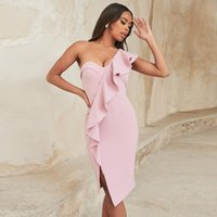 Casual Dresses Adyce Women One Shoulder Bodycon Bandage Dress Summer Sexy Strapless Pink Ruffles Evening Club Midi Party Outwear Vestidos