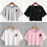 Short Sleeve Tops Womens Tshirt Casual Fashion Flower Printed Crop Top T Shirt Ladies Hollow Out Tee Tees Women's T-Shirt