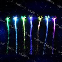 Novidade Iluminação Borboleta Borboleta Flash Cabelo LED Braça Mulheres Colorido Clipes Luminosos Fibra Hairpin Light Up Party Halloween Night Decor Decor Bateria DHL