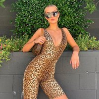 Jumpsuits Mulheres Macacão 2021 Leopardo Terno Bodycon Bodycon Zipper Fechado V-Ncek Clubwear Party Roupas Verão Sexy Lady Set Outfit