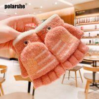 Five Fingers Gloves Winter Children 0-10 Years Old Girls Soft Half Finger Cover Animal Cashmere Warm Fleece Outdoor Mittens For Kids