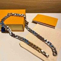 Цепные мужские Женщины Любовные Ожерелья Мода Браслеты Ожерелье Титановый Сталь Выгравирован Цветок Цветной Эмаль Алмаз 18 Кл Покрытием Золото Многократные Стили
