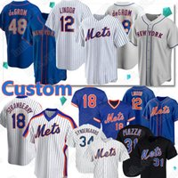 New York Mets Jersey 12 Francisco Lindor Baseball Jerseys 48 Jacob Degrom 20 Pete Alonso 18 Darryl Strawberry 31 Mike Piazza Noah Syndergaard Jersey