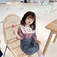 Shirts Baby Girls Floral Embroidery Long Sleeve Blouses Cotton Kids Big Turn-down Collar Plaid Tops Girl Casual Clothes