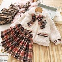 Preppy style children winter clothing sets girls plaid Bows tie lapel long sleeve fleece outwear+lattice pleated skirt 2pcs kids princess outfits Q2727